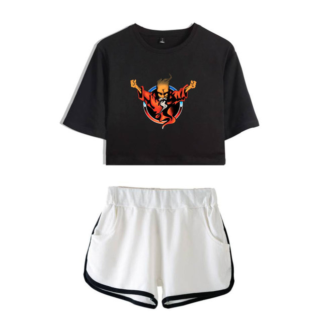 Thunderdome music Festival Printed Hip Pop Summer Cool Two Pieces Sets Navel Women T-shirts+shorts Harajuku Fashion Pullover Set 5