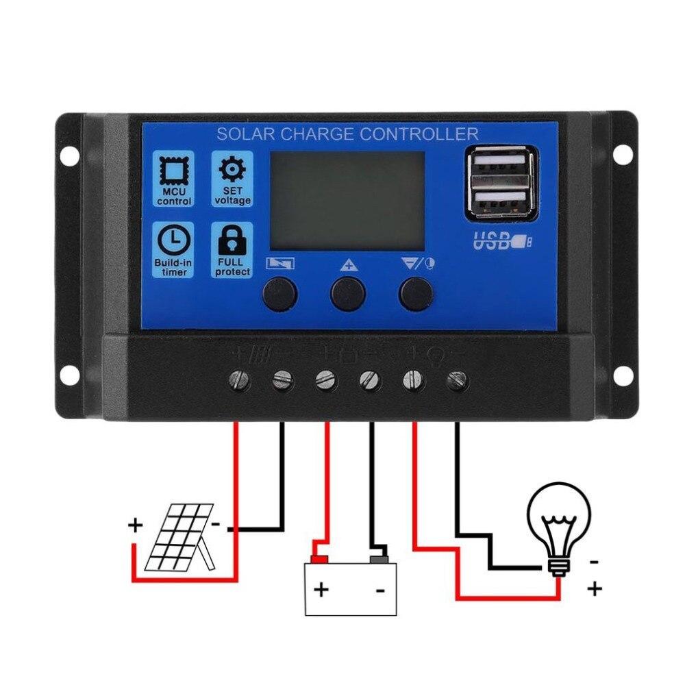 Солнечный контроллер заряда 24 В/12 В Автомобильная Панель батареи 30A 20A 10A lcd коллекторный регулятор с двойным выходом USB 5 в дропшиппинг Новый