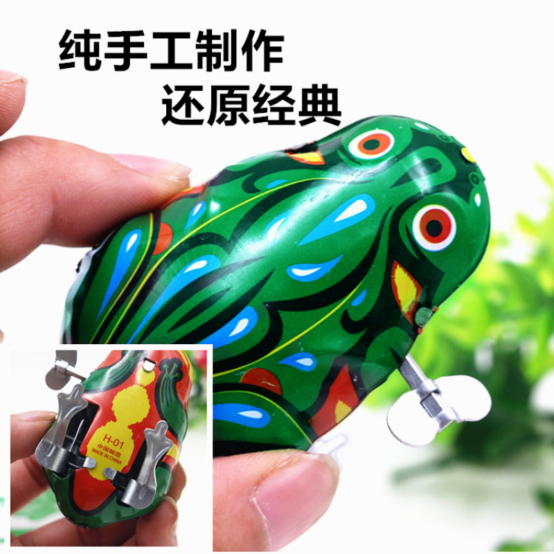 Spring Frog Jump Nostalgic Tin Toys 80 After Leapfrog Classic 70 Time Period Large Size Into Pendant Unisex
