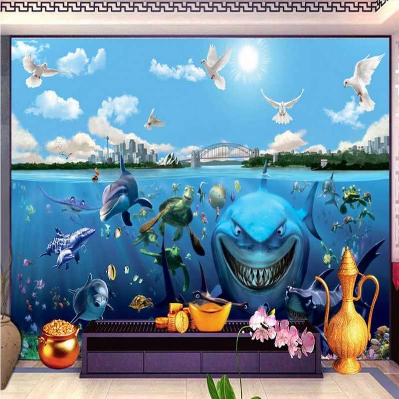 Dropship תמונה טפט HD טפט סטריאו דגים מתחת למים בעולם 3D רקע קיר סלון לובי מותאם אישית ציור קיר
