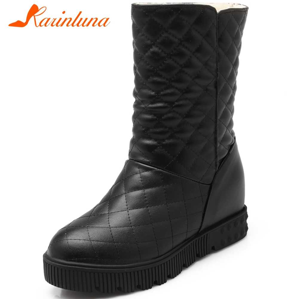 Karinluna moda gran oferta 2020 tamaño grande 43 Slip On agregar piel caliente botas de invierno zapatos de mujer plataforma negro Rosa botas femeninas