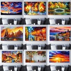 Пейзаж картина маслом влюбленные после дождя ночная сцена искусство холст живопись гостиная коридор офис украшение для дома Фреска