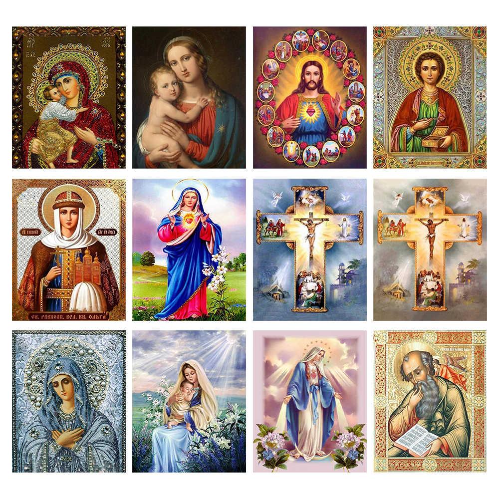 Tôn Giáo Tranh Gắn Đá Vệ Nữ Khảm Nghệ Thuật Chúa Giêsu Thêu Ren Hình Xếp Hình Đồ Chơi Trẻ Em Quà Tặng Trang Trí Treo Tường Hàng Thủ Công