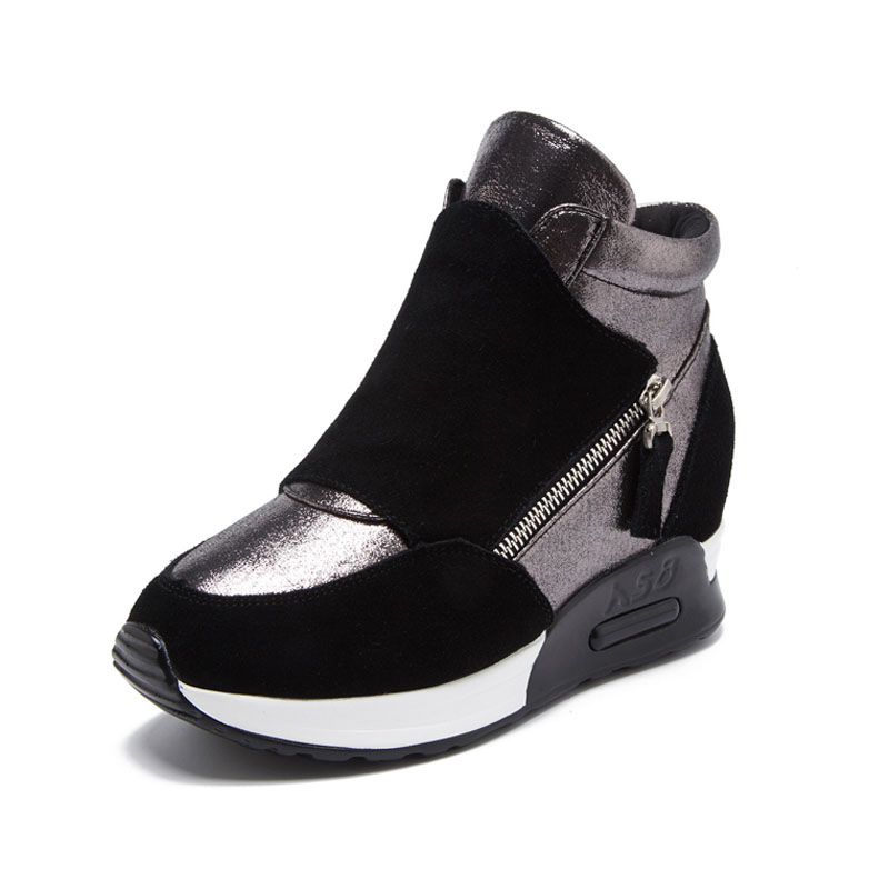 Sneakers Women Suede Genuine Leather Spring Shoes 2020 Fashion Ins Women Sneakers Height Increasing Shoes Wedge High Top Sneaker