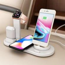 4 em 1 suporte de carregamento sem fio para apple relógio iphone 6s 7s 8 p 11 x xs xr 8 airpods1 2 pro 10w qi carregador rápido doca estação
