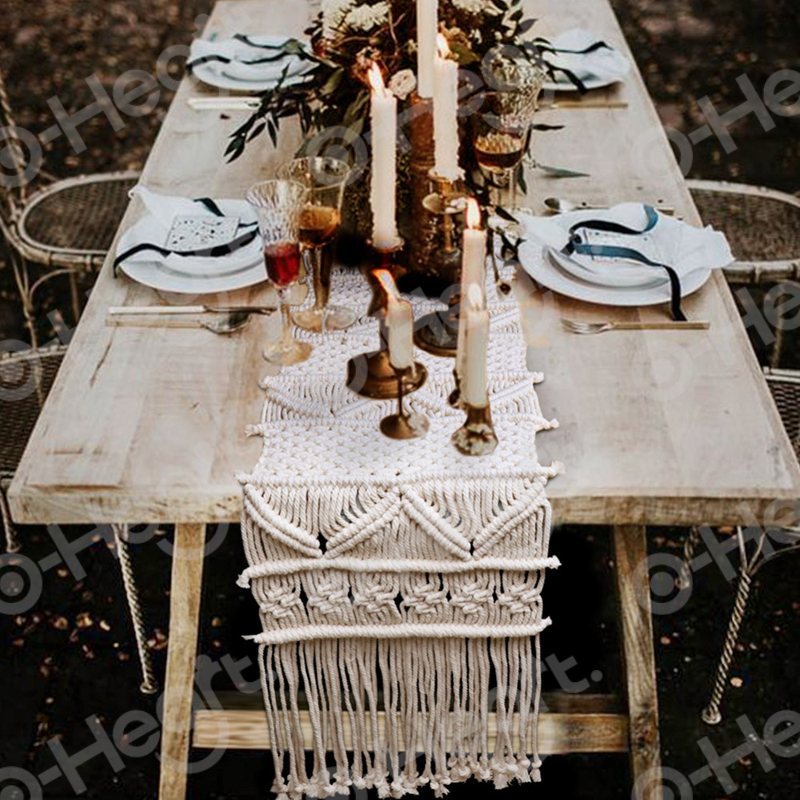 OHEART 12*71in Macrame Table Runner With Tassels Decoration Boho Wedding Table Decor Vintage Farmhouse Dining Room Style
