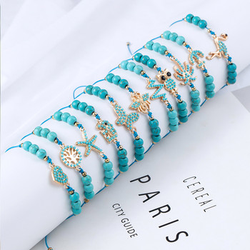 Bohemian Blue Acrylic Beads Ankle Bracelet for Women Leg Chain Coconut Tree Flamingo Anchor Electrocardiogram Owl Animal Anklet 4