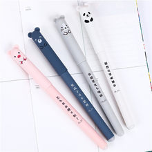 4 Pcs Cute Kawaii Kartun Kucing Gel Tinta Pena Ballpoint 0.35 Mm Biru Tinta Mahasiswa Pulpen(China)