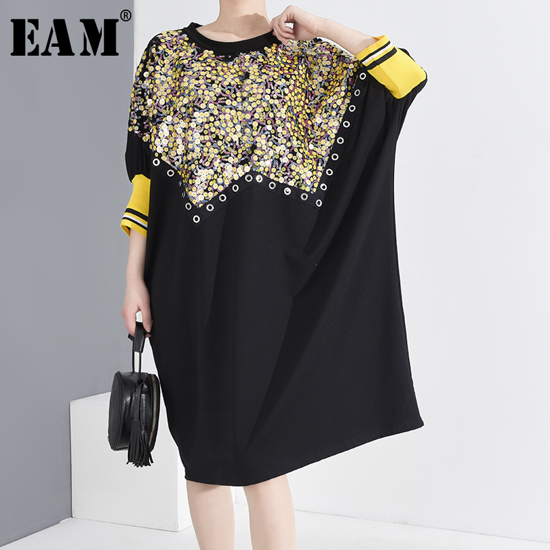 [EAM] Women Black Sequins Big Size Dress New Round Neck Three-quarter Sleeve Loose Fit Fashion Tide Spring Summer 2020 1T957