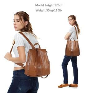 Image 2 - Vaschy moda vegan couro anti roubo mochila feminina tecer vintage único macio saco de escola para adolescente menina designer bolsa