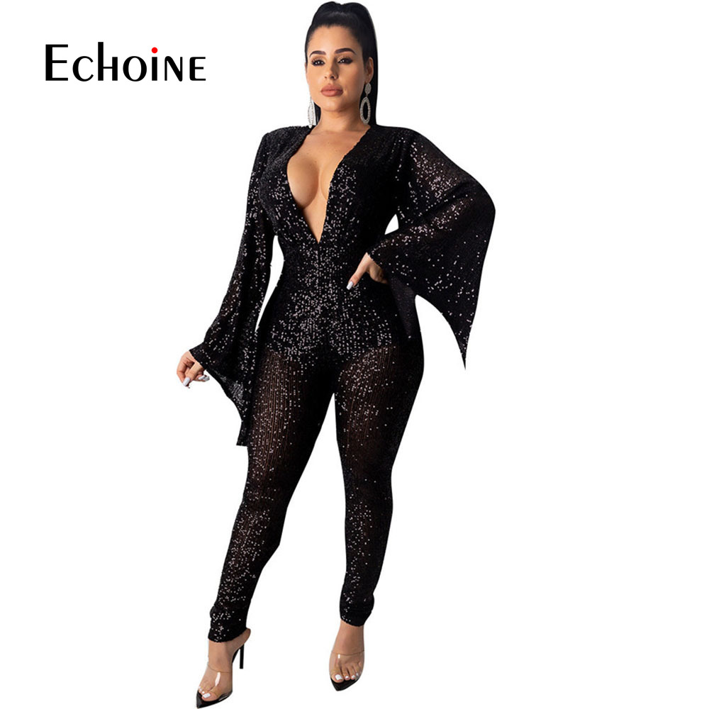 Black Mesh Sheer Sequin Jumpsuit Women Sexy V-Neck Flare Sleeve Sparkly Bodysuit Glitter Night Club Party Romper Overalls Femme