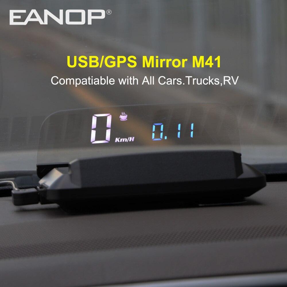 EANOP 2020 Новый HUD M41 дисплей GPS Спидометр лобовое стекло автомобиля скорость проектор KMH/KPM совместим со всеми автомобилями title=