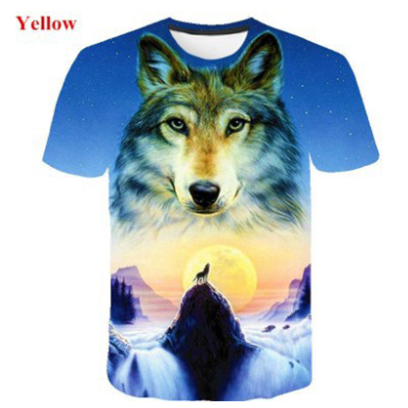 3d T-Shirt Abstract Printed Men's T-Shirt Wolf Print T-Shirt Hip Hop Crewneck Short Sleeve Men/Women T-shirt Tee Tops 4XL