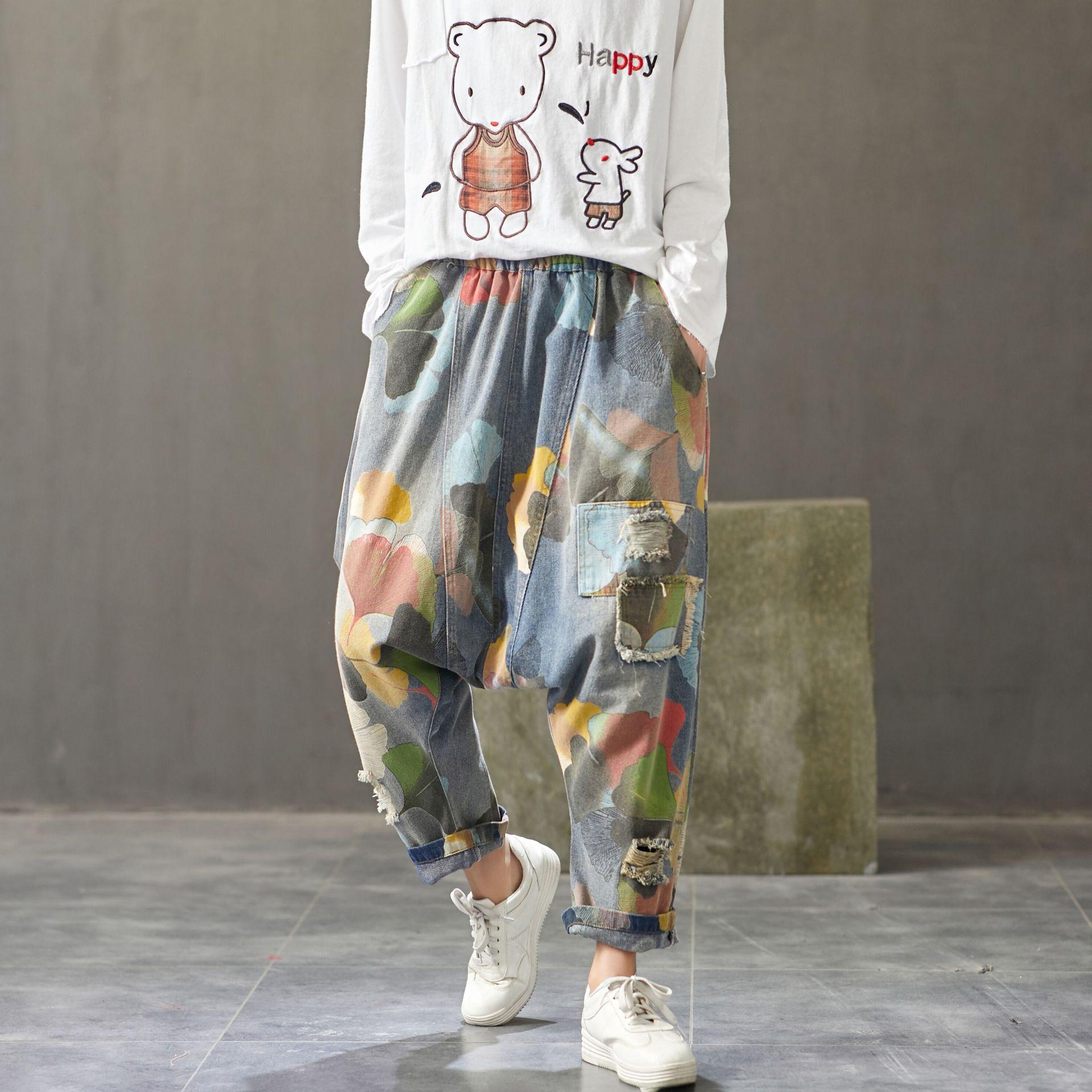 Baggy Jeans Japanese Style Hip Hop Streetwear Cowboy Joggers Women Low Drop Crotch Harem Denim Pants Ripped Printed Trousers