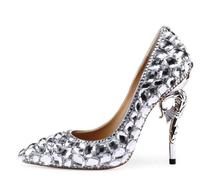 Silver Wedding Shoes Rhinestone 105mm Stiletto Heels Pointed Toe Wedding Pumps Sparkly Pearl Snake Heel Bling Diamonds Shoes faux pearl pointed toe stiletto heels