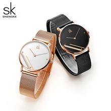 Часы наручные Shengke женские кварцевые, роскошные модные простые, с кристаллическим циферблатом