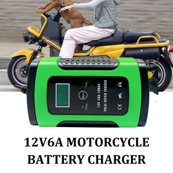 Green Car Battery Charger Automobile Motorcycle Intelligent Pulse Repair 12V 5A LCD Motocycle Battery Charging Device image