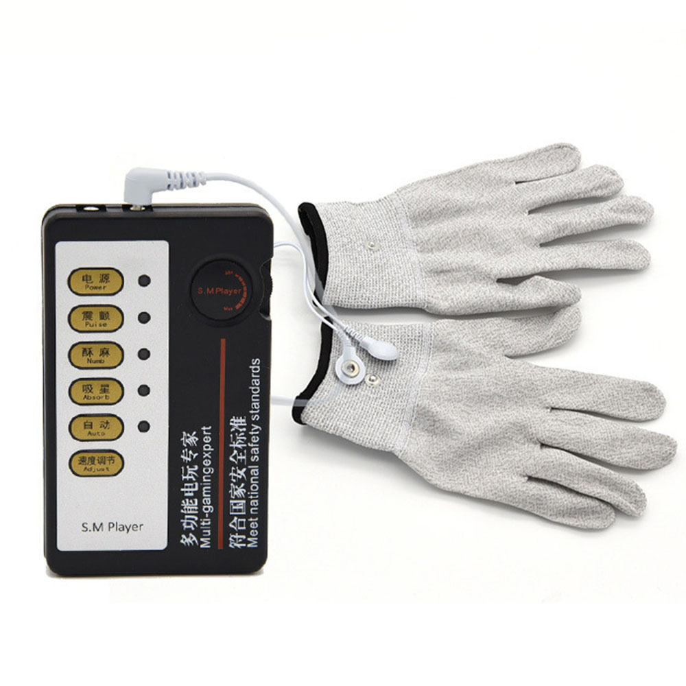 <font><b>Electro</b></font> Stimulation <font><b>Gloves</b></font> Pulse Physiotherapy Massage Orgasm Masturbator Electric Shock Host And Cable Kit <font><b>Sex</b></font> Toys For Adults image