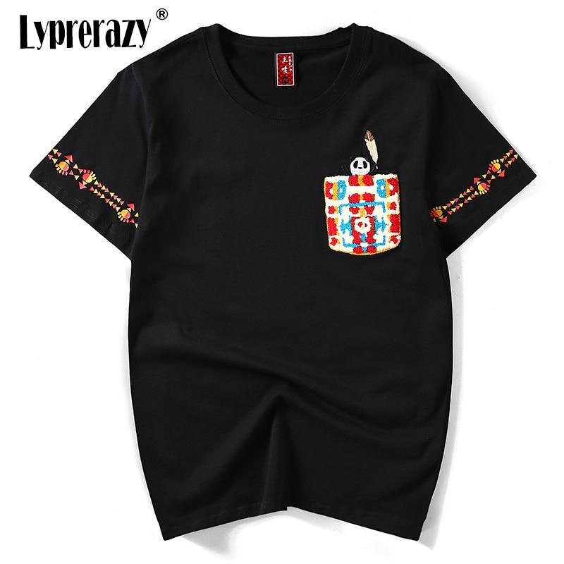 Lyprerazy Мужская забавная Милая футболка с рисунком панды, с вышивкой, модная футболка с коротким рукавом и принтом, летние рубашки