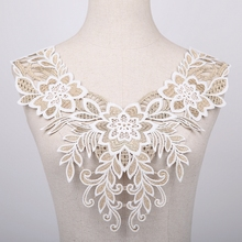 1PCS Lace Fabric Neckline Gold 9 Style Flower Necklace Collar Embroidery Trimming DIY Applique Sewing 19725