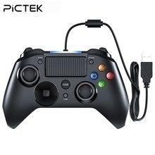 Pictek USB проводной геймпад 3 в 1 для PS4 игры светодиодные лампы контроллера двойные Вибраторы аудио геймпад для ПК PS3 ipad