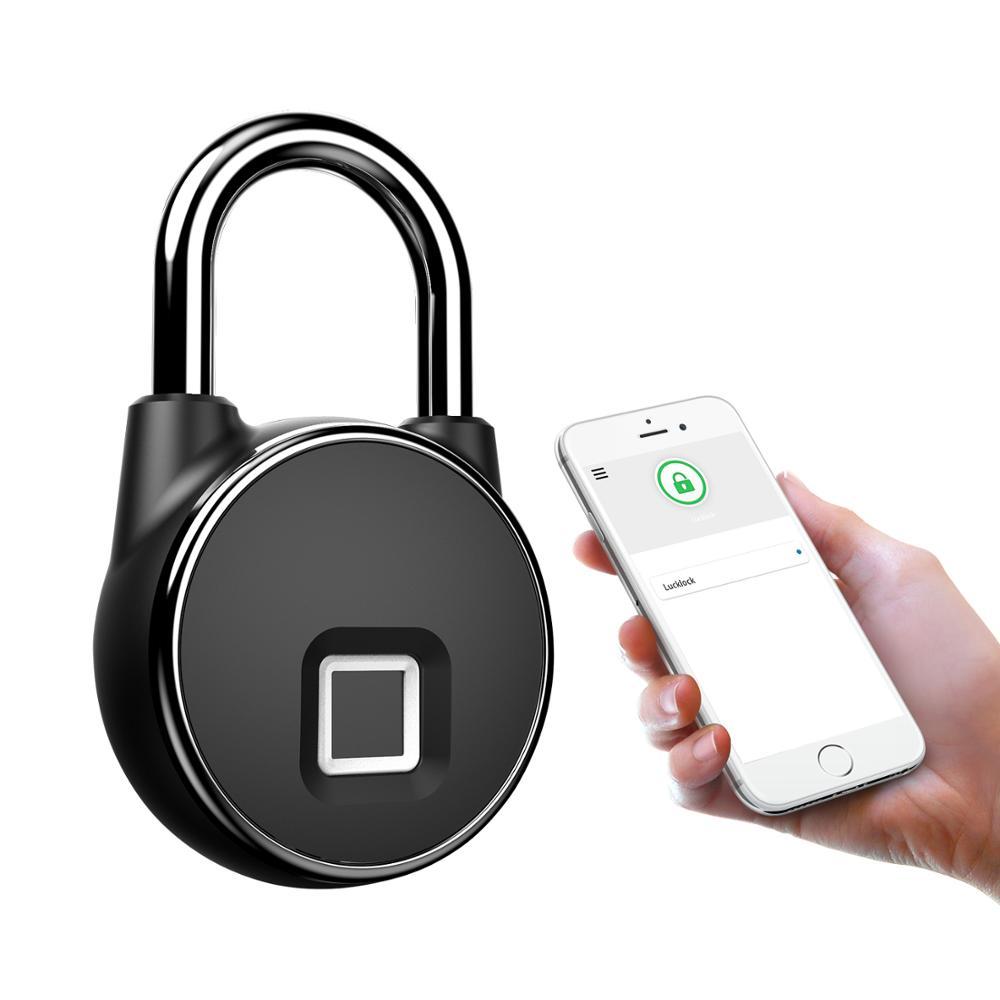 Lonsonho Smart Fingerprint Door Lock Keyless Finger Print Padlock Bluetooth App Control Waterproof USB Rechargeable Locker