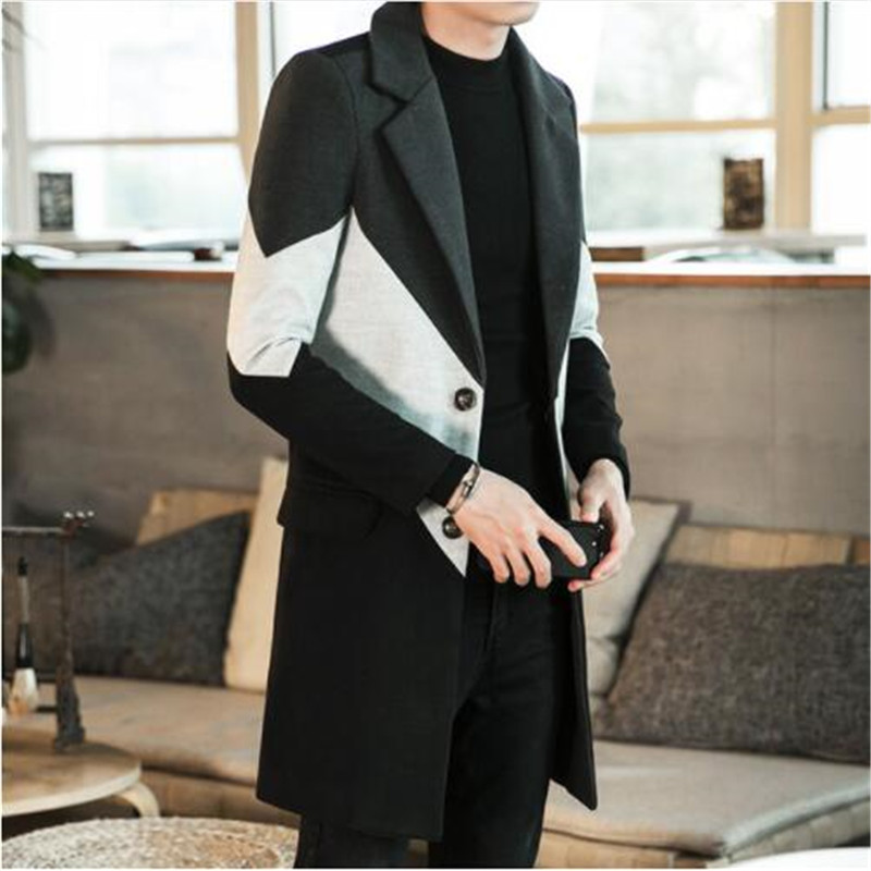 2019 New Winter Large Size Long Section Woolen Coat Male Youth Casual Color Matching Thick Coat Slim Lapel Wool Windbreaker