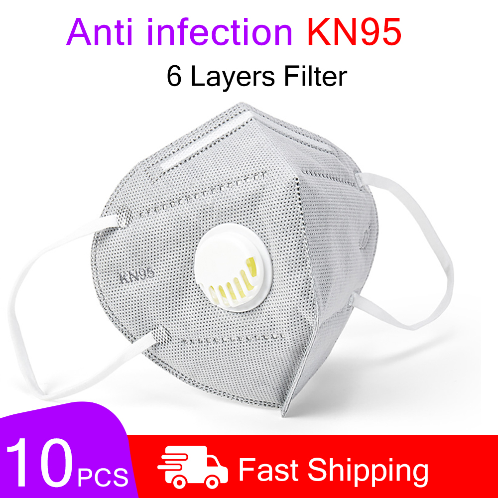 10Pcs KN95 Mask Valved Anti-saliva/Anti-fog/Anti-particulate 6-layer Filter Protective Face Mask Unisex Mask
