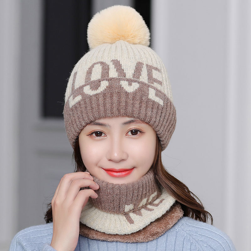 Winter Hat And Ring Scarf Set For Women Classic Thick Unisex Kitted Winter Warm Hats Scarves Pom Poms Bonnet Beanie Caps