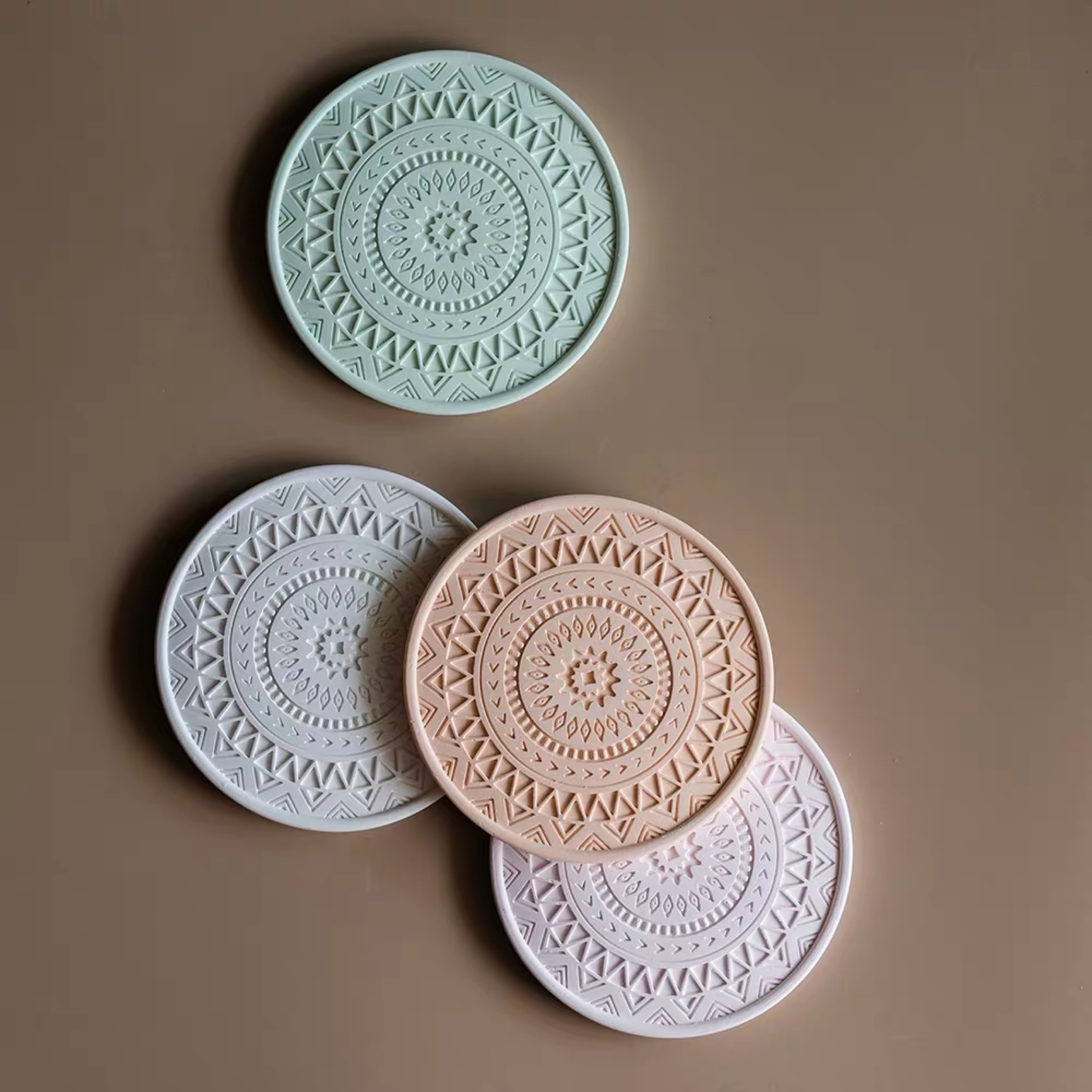 Japanese Embossed Pattern Coaster Silicone Mold Molds For Plaster Diatomite Insulation Placemat Mug Mat Concrete Clay Mold
