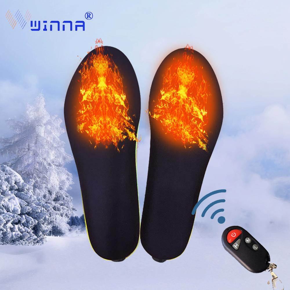 Portable Wireless Heating Insoles Winter Warm Heated Insoles Thermal Thickened Remote Control Electric Shoes Pad For Women Men