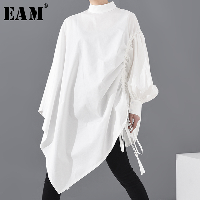 Best Offer 95c8de Eam Women White Drawstring Big Size Blouse New Stand Collar Long Sleeve Loose Fit Shirt Fashion Spring Summer 2020 1s22900 Cicig Co