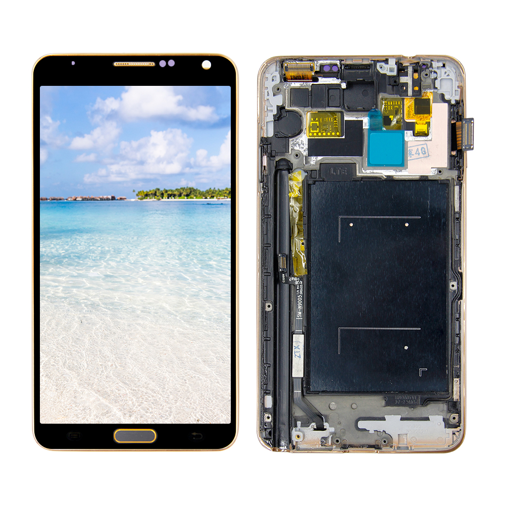 For Samsung-Galaxy Note3 Note 3 N900A N9005 <font><b>LCD</b></font> Display Touch Screen Digitizer Assembly For Samsung-Note 3 <font><b>LCD</b></font> With Gold Frame image