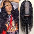 Парик Rebecca из натуральных человеческих волос с глубокой волной 13x4, предварительно выщипанные Детские волосы, 150% бразильский парик с глубоки...