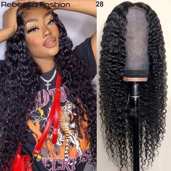 Rebecca 13x4 głęboka koronkowa fala przodu ludzkich włosów peruka wstępnie oskubane z dzieckiem włosy 150% brazylijski głębokie kręcone długa peruka dla kobiet 30 Cal
