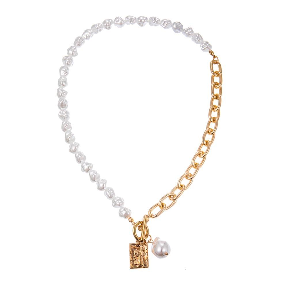 KMVEXO Vintage Baroque Irregular Pearl Lock Chains Necklace 2020 Geometric Aangel Pendant Love Necklaces for Women Punk Jewelry 2