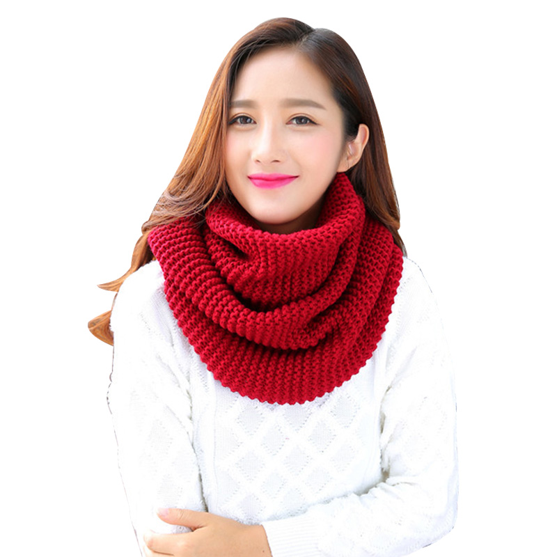 Solid Color Crochet Scarf For Women Knitted Winter O-Ring Scarves Snood Female Warm Soft Infinity Scarf Ladies Pink Red Ring Wra