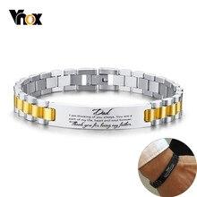 Vnox-Pulseras personalizadas para hombres, cadena de eslabones de acero inoxidable brillante, grabado de gracias, citas informales, joyería calificada