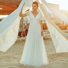 Bao Giờ Đơn Giản Đời Boho Áo Váy Chữ A Đôi Cổ V Thêu Phối Ren Thanh Lịch Cô Dâu Đồ Bầu Gelinlik Đầm Vestido De Noiva 2020
