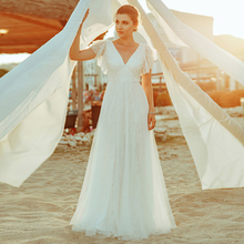 Sempre muito simples boho vestidos de casamento a linha duplo v neck bordado elegante renda vestidos de noiva gelinlik vestido de noiva 2020