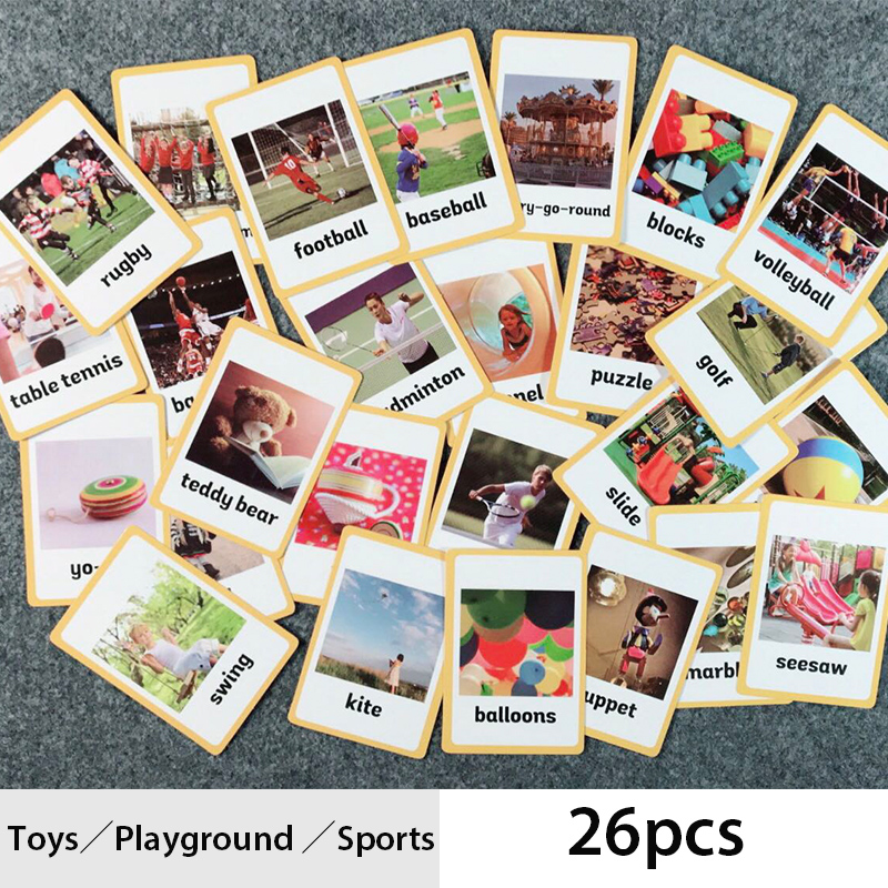 English Pocket Card Learning Toys Playground Sports Foreign Language Word Flash Cards Memory Games Eduaction Toys For Children