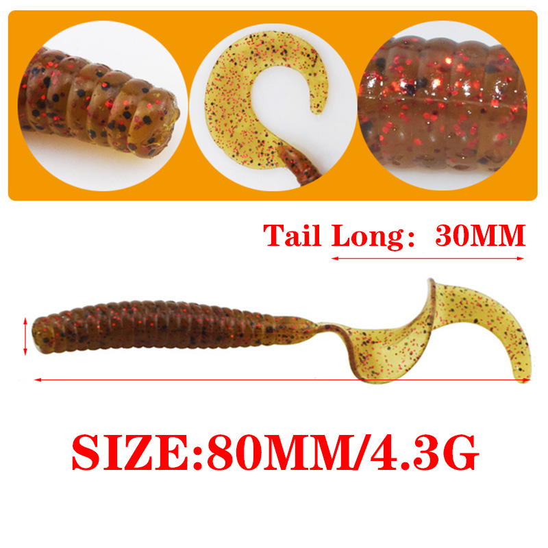 5pcs/Lot Curly Worm Soft Bait Jig Wobbler Fishing Lures 8cm 4.3g  Smell With Salt Artificial Silicone Swimbait Bass Carp Tackle 1