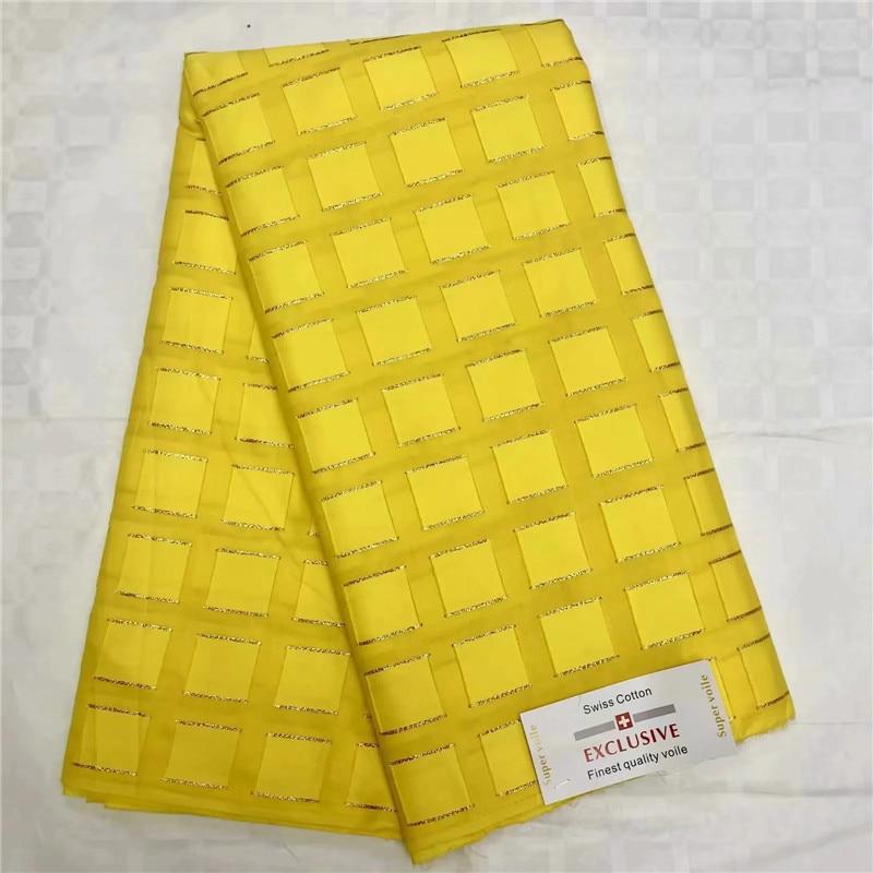 Alta calidad Swiss Voile encaje 2019 tela de encaje africano algodón suizo bordado de tela de hilo de oro para vestido de fiesta 14L03-in Tela from Hogar y Mascotas    1