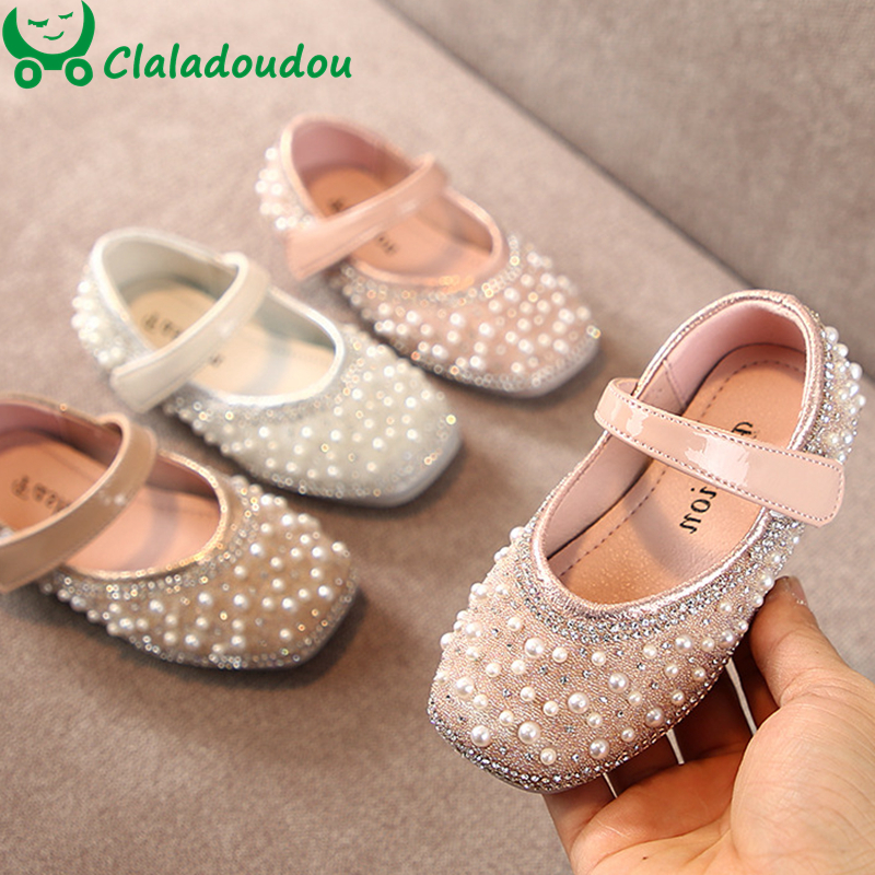 Cladoudou 11.5-15.5cm Brand Fashion Glitter Girls Flats Shoes With Full Pearls Gold Pink Bling Rhinestone Princess Dress Shoes