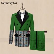 Tuxedo Velvet Blazer Gwenhwyfar Costume Jacket Pants Wedding Party Green Men's Stylish-Design