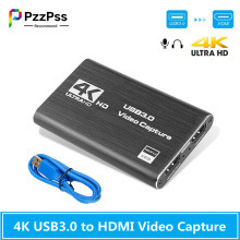 PzzPss 4K USB 3.0 Video Capture Card HDMI-compatible 1080P 60fps HD Video Recorder Grabber For OBS Capturing Game Card Live