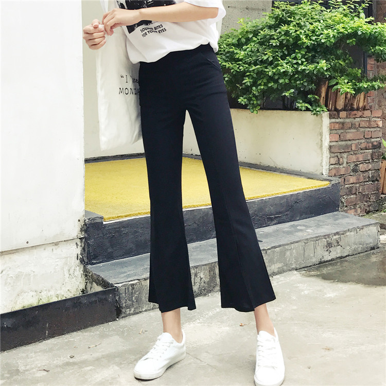 Spring 2019 New Style Korean-style Loose-Fit High-waisted Pants Students Wide-Leg Slit Micro Bell-bottom Pants Capri Pants WOMEN