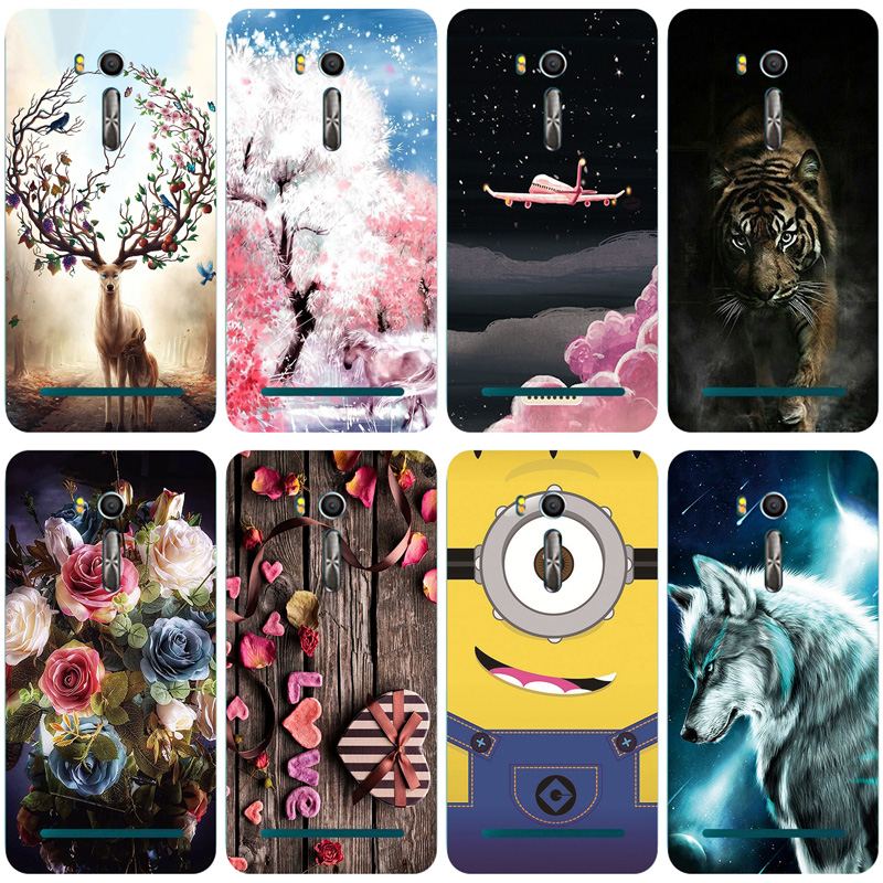 Painted TPU Soft Print Phone Case For <font><b>Asus</b></font> <font><b>Zenfone</b></font> Go ZB552KL <font><b>X007D</b></font> Soft Silicone Back Cover Cases Pattern Cat Owl Shell image