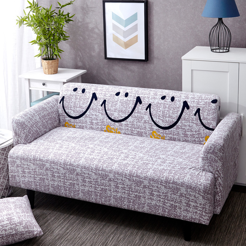 Smiley Gray Pattern Sofa Cover Sofa Slipcover Sofa For Sofa Towel Living Room Furniture Protective Armchair Couches Sofa 1/2/3/4