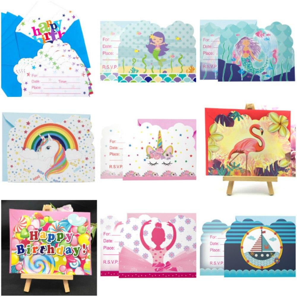 6 карт + 6 конверты с цветочным принтом Единорог Русалка пират бумажные Пригласительные открытки для детей День рождения украшения
